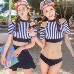 Vicki Vicki - Set: Striped Swim Top + Swim Bottom + Skirt