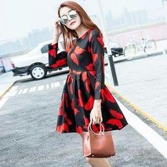 Angel Shine - Butterfly Print Long Sleeve A-Line Dress