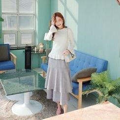 Cherryville - Tiered-Ruffle A-Line Long Skirt