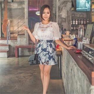 ERANZI - Floral Print A-Line Skirt