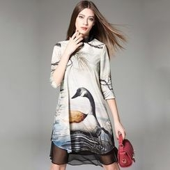 Y:Q - Frog-Button Printed Qipao Dress with Slipdress