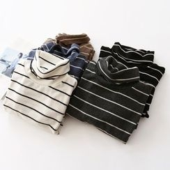 Bonbon - Striped High Neck Long-Sleeve T-Shirt