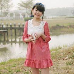 Tokyo Fashion - Lace Panel Ruffled Dress