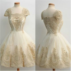 Katemi - Embroidered Cap Sleeve Mini Prom Dress
