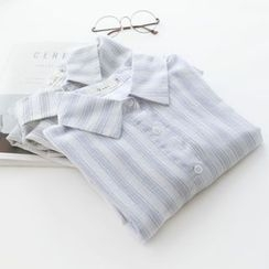 Bonbon - Pinstriped 3/4-Sleeve Linen Cotton Blouse