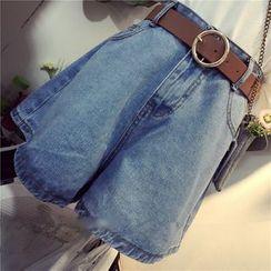 MePanda - High-Waist Denim Wide Leg Shorts