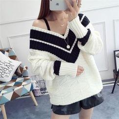 Waypoints - Contrast Trim V-Neck Chunky Sweater