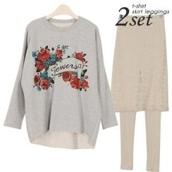 Ho Shop - Set: Rose Print Frayed Pullover + Inset Lace Skirt Leggings