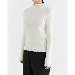 Someday, if - Frill-Edge Slim-Fit Knit Top