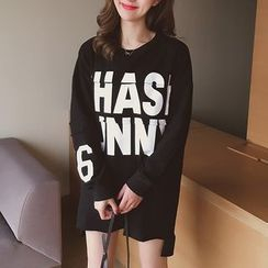 Cocofield - Long-Sleeve Lettering Pullover Dress