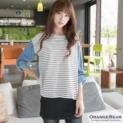 OrangeBear - Tab Long-Sleeve Stripe-Panel Top