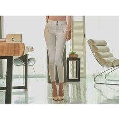 UUZONE - Button-Front Skinny Pants