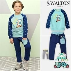 WALTON kids - Kids Set: Raglan-Sleeve Printed Pullover + Contrast-Trim Harem Pants