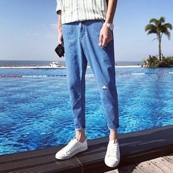 Mr. Wu - Embroidered Washed Jeans