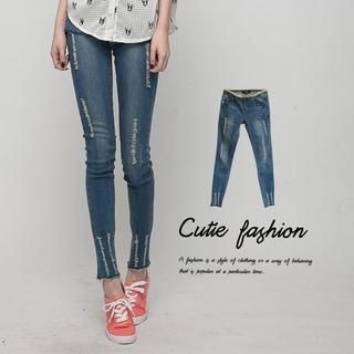 CUTIE FASHION - Distressed Skinny Jeans