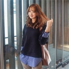 Styleberry - Inset Round-Neck Knit Top Stripe Shirt
