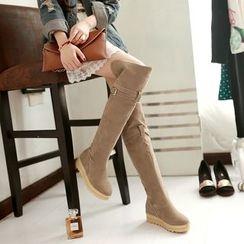 Pastel Pairs - Platform Hidden Wedge Over-the-Knee Boots