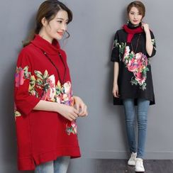 MIUCO - Floral Print Turtleneck Top