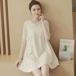 lilygirl - Short-Sleeve Lace Panel A-Line Dress