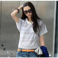 SO Central - Short-Sleeve Open-Knit Top