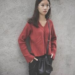 Polaris - Pocketed V-Neck Cropped Sweater