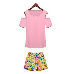 FURIFS - Set : Cutout Shoulder Short-Sleeve Top + Floral Print Shorts