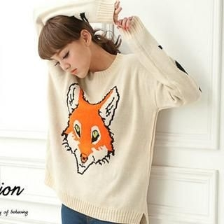CUTIE FASHION - Slit-Side Fox-Print Sweater