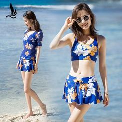 SANQI - Set : Floral Print 2-piece Swimdress + Short-Sleeve Cover-up