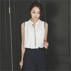 ode' - Sleeveless Contrast-Trim Chiffon Blouse