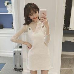 Phyllis - Set : Sheer Long-Sleeve Top + Strap Dress