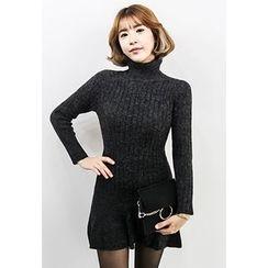 INSTYLEFIT - Turtle-Neck A-Line Mini Knit Dress