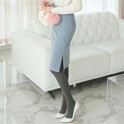 ode' - High-Waist Slit-Side Corduroy Skirt