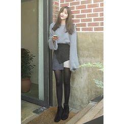 CHERRYKOKO - Color-Block Faux-Suede Mini Skirt