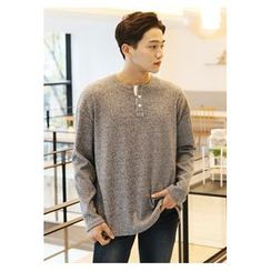 HOTBOOM - Buttoned Knit Sweater