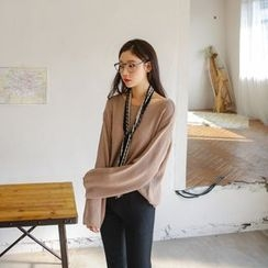 JUSTONE - Round-Neck Loose-Fit Knit Top