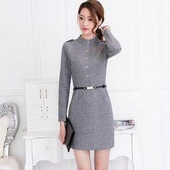 Kotoba - Long-Sleeve Woolen Sheath Dress
