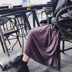 Enocula - Velvet Pleated Skirt