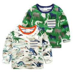 Seashells Kids - Kids Dinosaur Print Long Sleeve T-Shirt