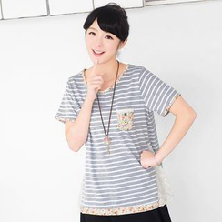 59 Seconds - Floral Pocket Striped T-Shirt