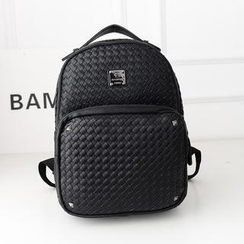 Bibiba - Woven Faux Leather Backpack