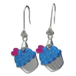 Sweet & Co. - Sweet Glitter Blue Mirror Cupcake Silver Earrings