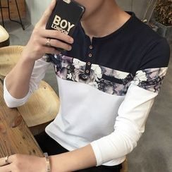 Besto - Printed Long-Sleeve Henley