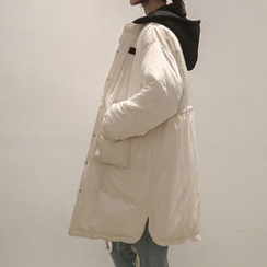 NANING9 - Hooded Drawstring-Waist Thicken Coat