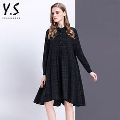 Y:Q - Plaid Long-Sleeve Shirtdress