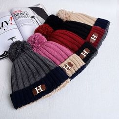 Buttercap - Pompom-Accent Color-Block Beanie