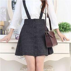 LITI - Stripe Button-front Suspender Skirt
