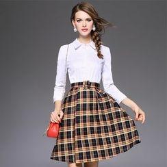 Ozipan - 3/4-Sleeve Plaid-Panel Dress