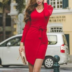 Aurora - Long-Sleeve Bow-Accent Dress