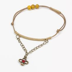 Porcelina - Beaded Anklet with Flower Charm