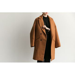 UPTOWNHOLIC - Double-Breasted Wool Blend Coat With